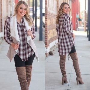 Checkered Plaid Button Up Tunic.